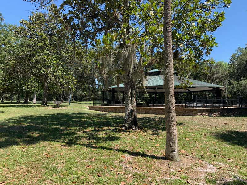 """Pavilion at Wilson's Landing Park overlooking the Wekiva River, a State designated """"Outstanding Florida Water"""" and the Bioretention Garden"""