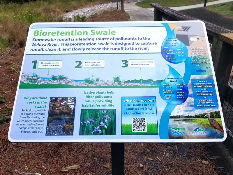 Educational sign onsite describing the purpose and function of the Bioretention Garden.