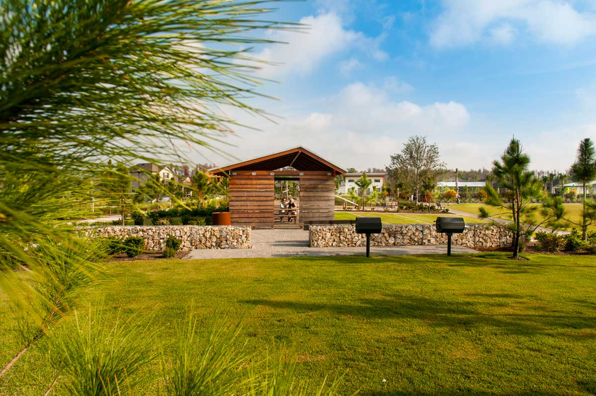 Beauty in function: the historic Starkey family homestead and other elements of the land's history provided inspiration for the design of residential amenities in the new community. The new architecture and elements are meant to be simple, functional, raw, and beautiful.