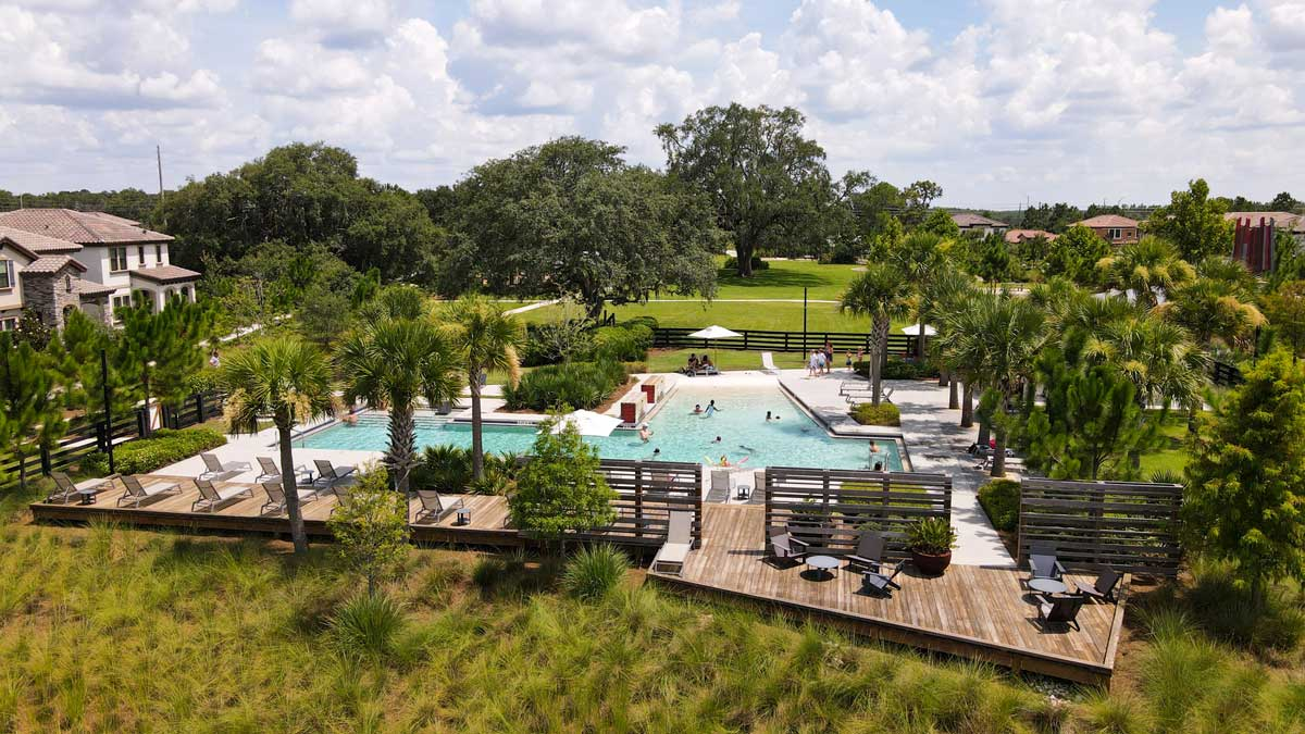 In place of the traditional community amenity, the parks at Starkey Ranch compose a system of contextual open spaces, honoring the land's history, creating a sense of place, and connecting people to nature and each other.