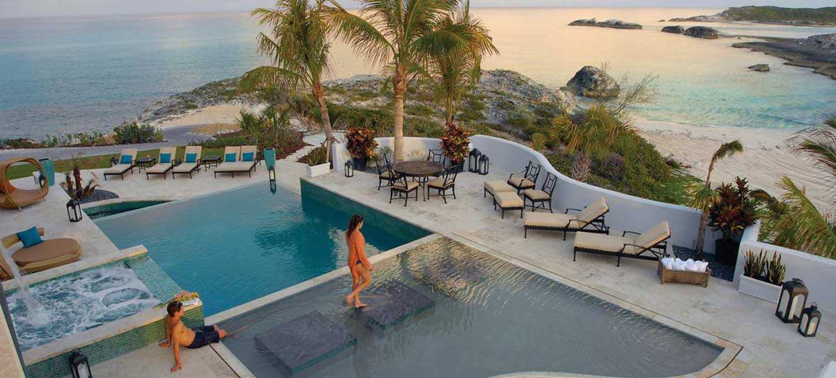 Villa 3, this multi-tiered pool with floating steps provides cool water and breathtaking views out to sea.