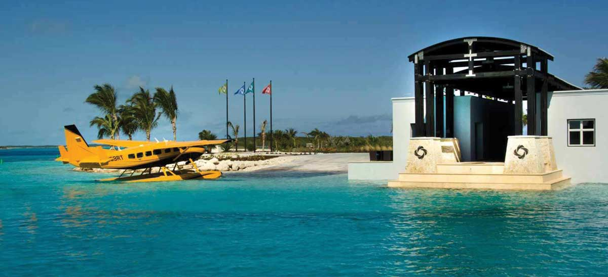 OYC marina allows for a seaplane ramp to welcome guests visiting the Cay.