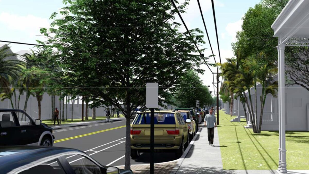Proposed condition: This image depicts bump-out tree wells, which are self-watering via the use of street run-off. Narrow travel lanes result in decreased speeds in the residential neighborhood with bike lanes and on-street parking on both sides.