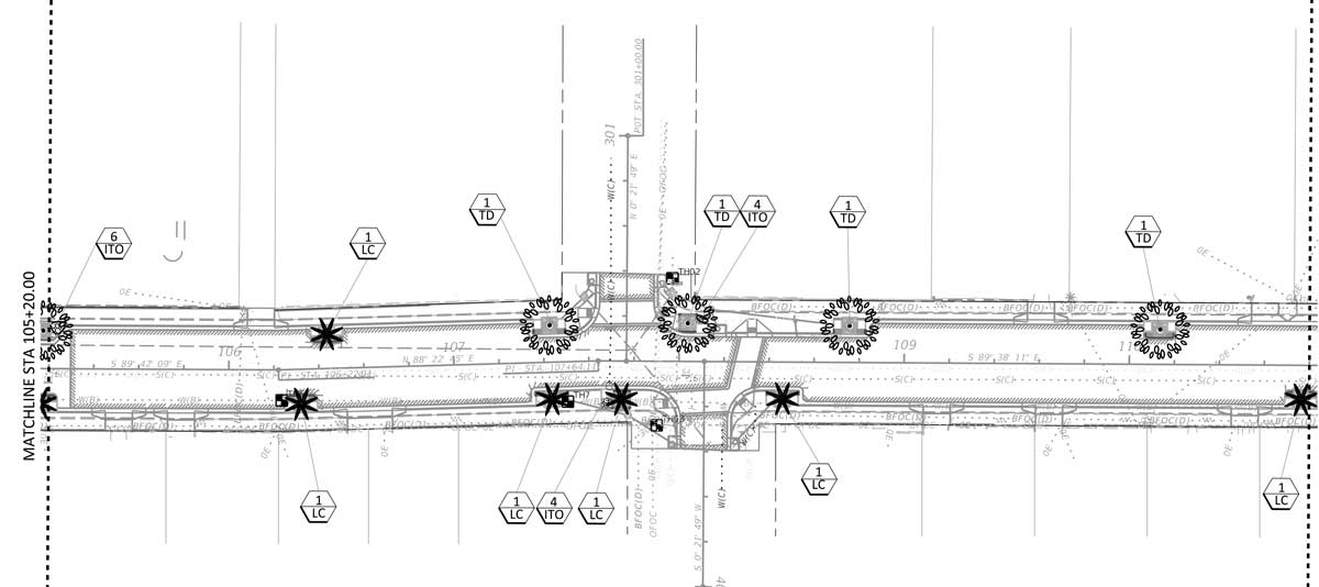 The construction document site plan of proposed landscape bump-outs and street tree program.