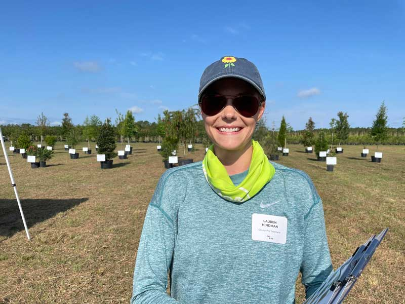 Lauren Hindman, owner of Enviro Pro Tree Farm located in Clermont, Florida.