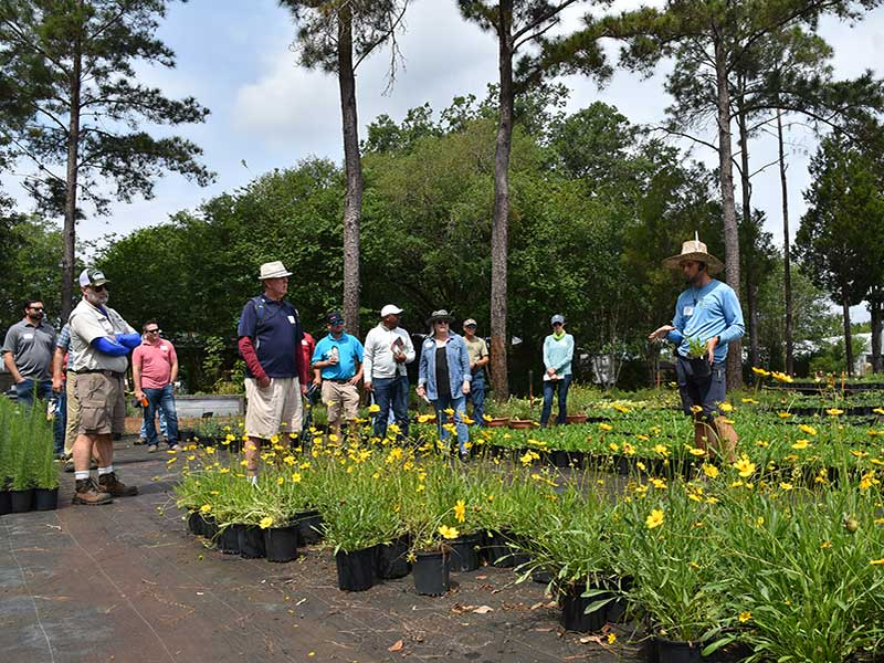 A tour guide speaking to attendees about native and Florida-friendly plants at Green Isle Gardens.